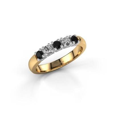 Engagement ring Rianne 5 585 gold black diamond 0.448 crt