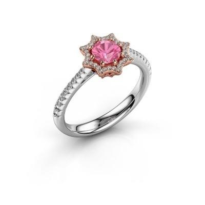 Aanzoeksring Zena 585 rosé goud roze saffier 5 mm