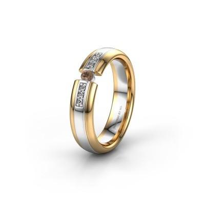 Wedding ring WH2128L26C 585 white gold brown diamond ±5x2 mm
