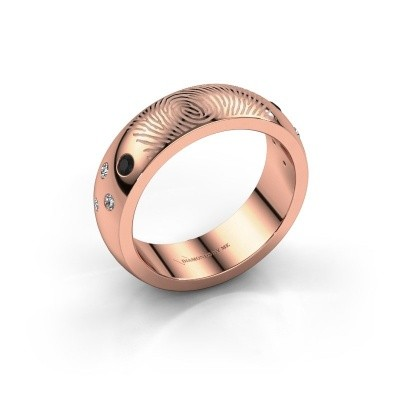 Bild von Ring Minke 375 Roségold Schwarz Diamant 0.147 crt