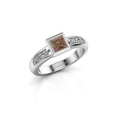 Stacking ring Lieke Square 925 silver brown diamond 0.52 crt