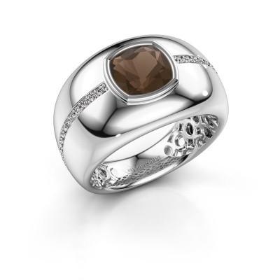 Ring Sydney 950 platina rookkwarts 7.5 mm
