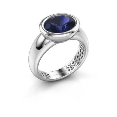 Foto van Ring Evelyne 925 zilver saffier 10x8 mm