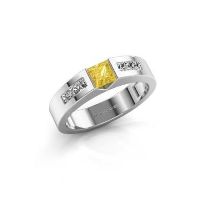 Foto van Verlovings ring Arlena 2 585 witgoud gele saffier 4 mm