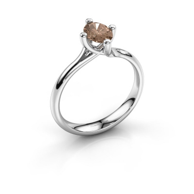 Engagement ring Dewi Oval 925 silver brown diamond 0.80 crt