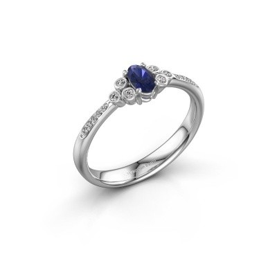 Picture of Engagement ring Lucy 2 585 white gold sapphire 7x5 mm