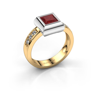 Ring Charlotte Square 585 gold ruby 5 mm