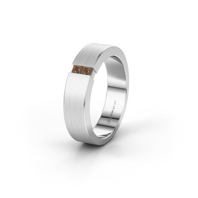 Trouwring WH2136L15E 585 witgoud bruine diamant ±5x2.6 mm