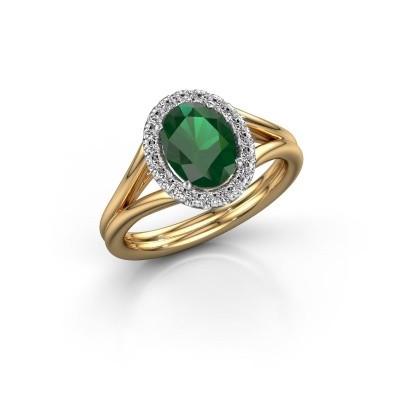 Engagement ring Rachele 1 585 gold emerald 8x6 mm