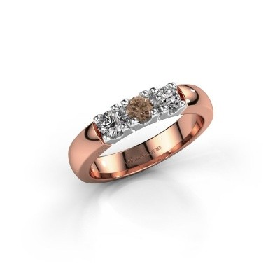 Engagement ring Rianne 3 585 rose gold brown diamond 0.450 crt