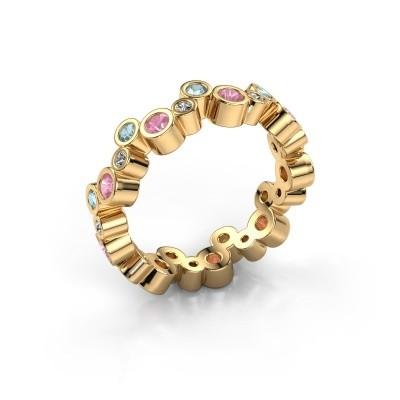 Foto van Ring Tessa 585 goud roze saffier 2.5 mm