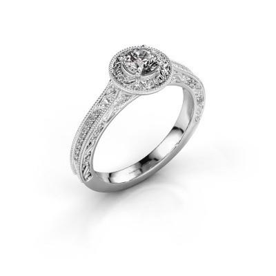 Verlovings ring Alice RND 585 witgoud diamant 0.400 crt