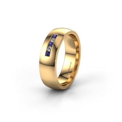 Trouwring WH0107L26BP 585 goud saffier ±6x2 mm