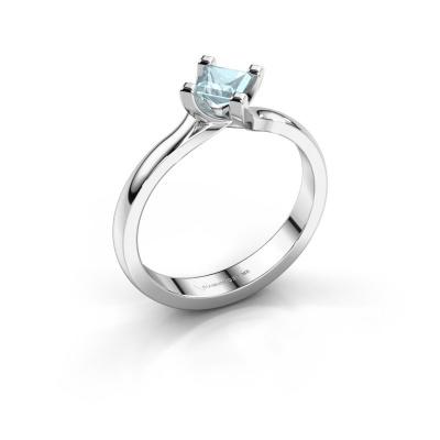 Engagement ring Dewi Square 950 platinum aquamarine 4 mm