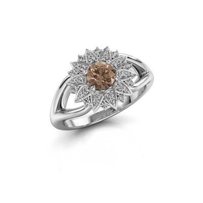 Verlovingsring Chasidy 1 585 witgoud bruine diamant 0.50 crt