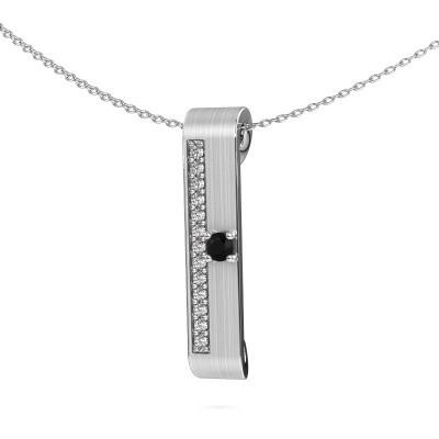 Halsketting Vicki 925 zilver zwarte diamant 0.315 crt