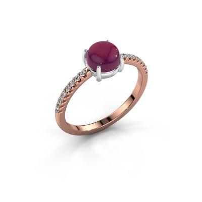 Ring Cathie 585 rosé goud rhodoliet 6 mm