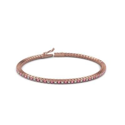 Foto van Tennisarmband Simone 375 rosé goud roze saffier 2 mm