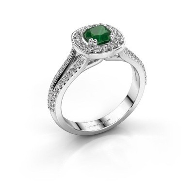 Engagement ring Carolina 2 925 silver emerald 5 mm