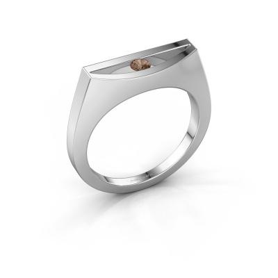 Bague Milou 950 platine diamant brun 0.10 crt