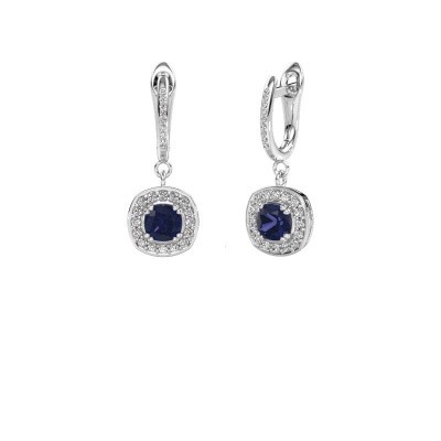Picture of Drop earrings Marlotte 2 585 white gold sapphire 5 mm
