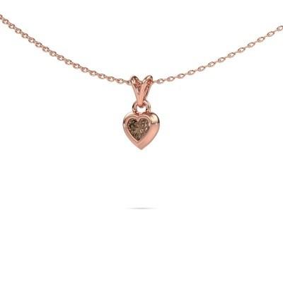 Foto van Hanger Charlotte Heart 375 rosé goud bruine diamant 0.25 crt