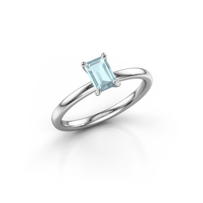 Picture of Engagement ring Crystal EME 1 950 platinum aquamarine 6x4 mm