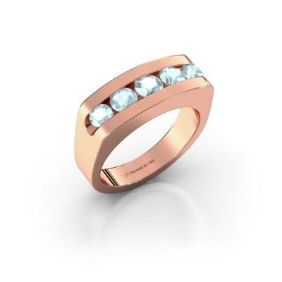 Foto van Heren ring Richard 375 rosé goud aquamarijn 4 mm
