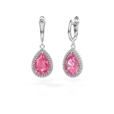 Ohrhänger Hana 1 950 Platin Pink Saphir 12x8 mm
