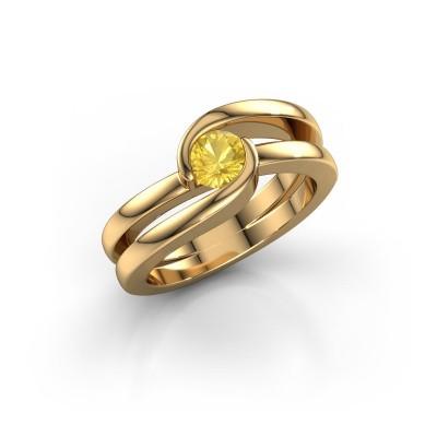 Foto van Ring Xenia 1 375 goud gele saffier 5 mm