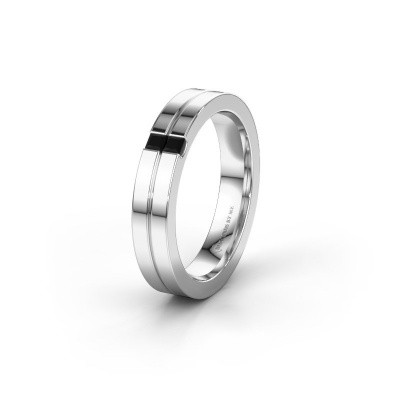 Trouwring WH0225L14B 585 witgoud zwarte diamant ±4x2 mm