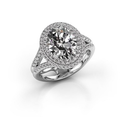 Foto van Verlovingsring Elvie 585 witgoud lab-grown diamant 3.295 crt