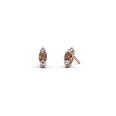 Foto van Oorbellen Amie 375 rosé goud bruine diamant 0.90 crt