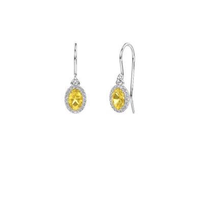 Ohrhänger Seline ovl 585 Weißgold Gelb Saphir 6x4 mm