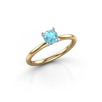Foto van Verlovingsring Crystal RND 1 585 goud blauw topaas 5 mm