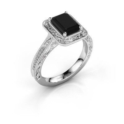 Verlovings ring Alice EME 925 zilver zwarte diamant 1.485 crt