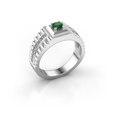 Foto van Rolex stijl ring Maikel 585 witgoud smaragd 4.2 mm