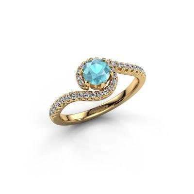 Verlovingsring Elli 375 goud blauw topaas 5 mm