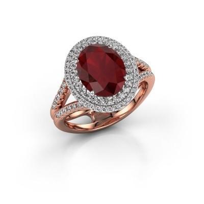Foto van Verlovingsring Elvie 585 rosé goud robijn 10x8 mm