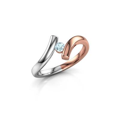 Ring Amy 585 rosé goud aquamarijn 3 mm