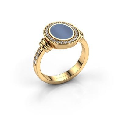 Foto van Zegelring Servie 1 585 goud licht blauwe lagensteen 10x8 mm