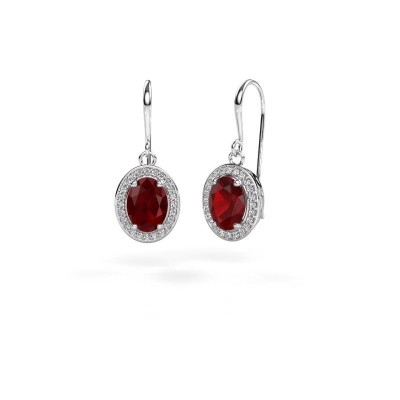 Picture of Drop earrings Latesha 375 white gold ruby 8x6 mm