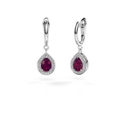 Picture of Drop earrings Ginger 1 925 silver rhodolite 7x5 mm