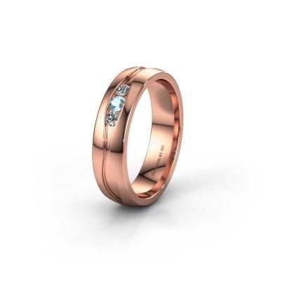 Trouwring WH0172L25A 375 rosé goud aquamarijn ±5x1.7 mm