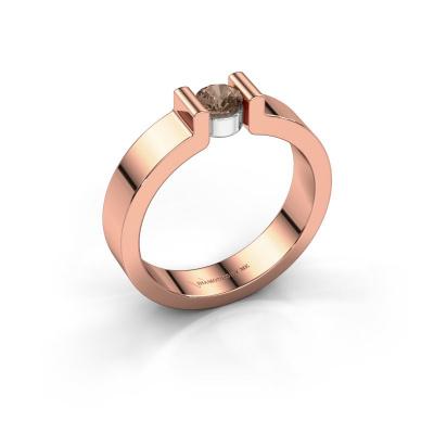 Verlovingsring Isabel 1 585 rosé goud bruine diamant 0.25 crt