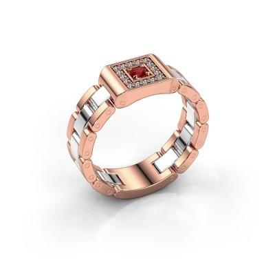 Foto van Heren ring Giel 585 rosé goud robijn 2.7 mm
