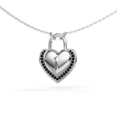 Halsketting Heartlock 925 zilver zwarte diamant 0.138 crt