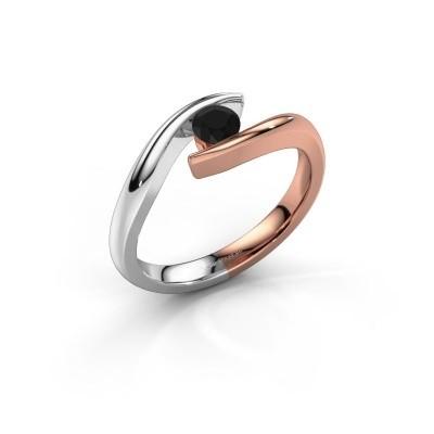 Foto van Aanzoeksring Alaina 585 rosé goud zwarte diamant 0.30 crt