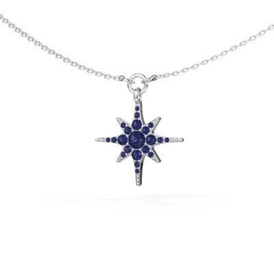 Halsketting Star 925 zilver saffier 3 mm