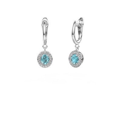 Picture of Drop earrings Nakita 585 white gold blue topaz 5x4 mm